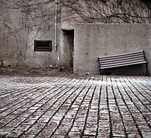 Broken Bench, Industrial Vent and Doorway, Early Spring by M Sylvia Chaume