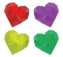 Polygonal Hearts Photographic Print