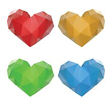 Polygonal Hearts 2 Photographic Print