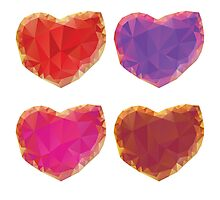 Polygonal Hearts 3 Photographic Print