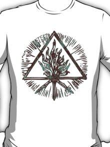 ANCIENT FIRE SYMBOL - aqua grunge T-Shirt