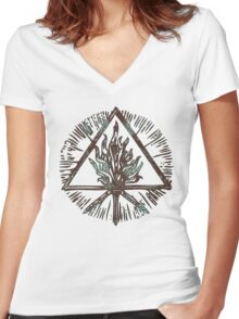 ANCIENT FIRE SYMBOL - aqua grunge Women's Fitted V-Neck T-Shirt