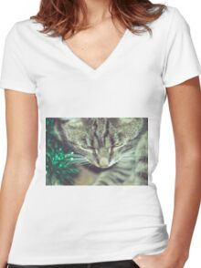 Retro Tabby Cat and Green Tinsel Women's Fitted V-Neck T-Shirt