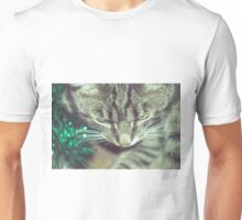 Retro Tabby Cat and Green Tinsel Unisex T-Shirt