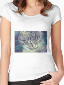 Retro Tabby Cat and Green Tinsel 2 Women's Fitted Scoop T-Shirt