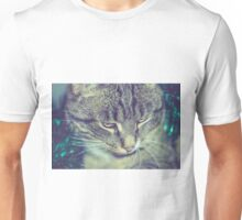 Retro Tabby Cat and Green Tinsel 2 Unisex T-Shirt