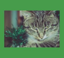 Retro Tabby Cat and Green Tinsel 4 Baby Tee