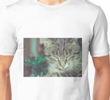 Retro Tabby Cat and Green Tinsel 4 Unisex T-Shirt