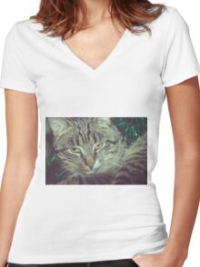 Retro Tabby Cat and Green Tinsel 5 Women's Fitted V-Neck T-Shirt