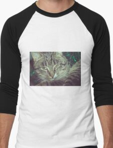 Retro Tabby Cat and Green Tinsel 5 Men's Baseball ¾ T-Shirt