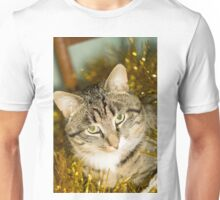 Tabby Cat and Yellow Tinsel Unisex T-Shirt