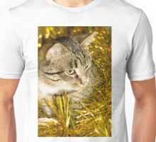 Tabby Cat and Yellow Tinsel 2 Unisex T-Shirt