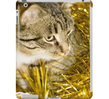 Tabby Cat and Yellow Tinsel 2 iPad Case/Skin
