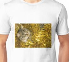 Tabby Cat and Yellow Tinsel 3 Unisex T-Shirt