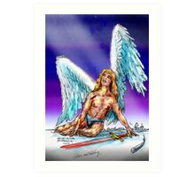 fallen Angel  sketch & Corel Photo paint Art Print