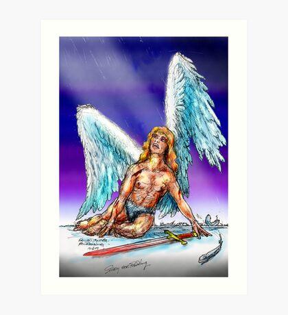 fallen Angel  sketch & Corel Photo paint Art Print