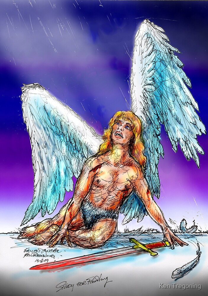 fallen Angel  sketch & Corel Photo paint by Ken Tregoning
