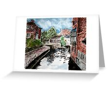 england river canal cityscape painting print Greeting Card