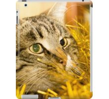 Tabby Cat and Yellow Tinsel 5 iPad Case/Skin