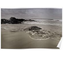 An endless flow of sand and shells, ebbs back and forth by ocean swells Poster