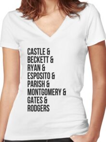 Castle Characters Women's Fitted V-Neck T-Shirt