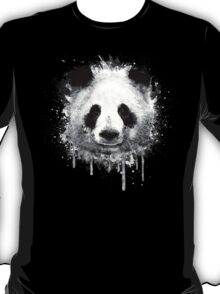 Cool Abstract Graffiti Watercolor Panda Portrait in Black & White  T-Shirt