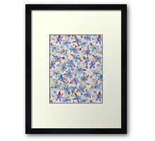 Purple Painted Floral Pattern Framed Print