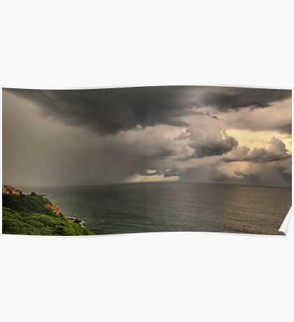 Storm off Newcastle Harbour Poster