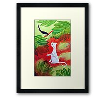 White Cat Black Bird Framed Print
