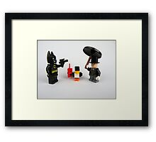 The Penguin and Batman Framed Print