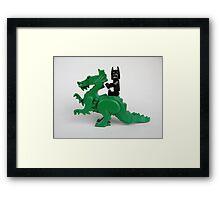 Batman on a Dragon Framed Print