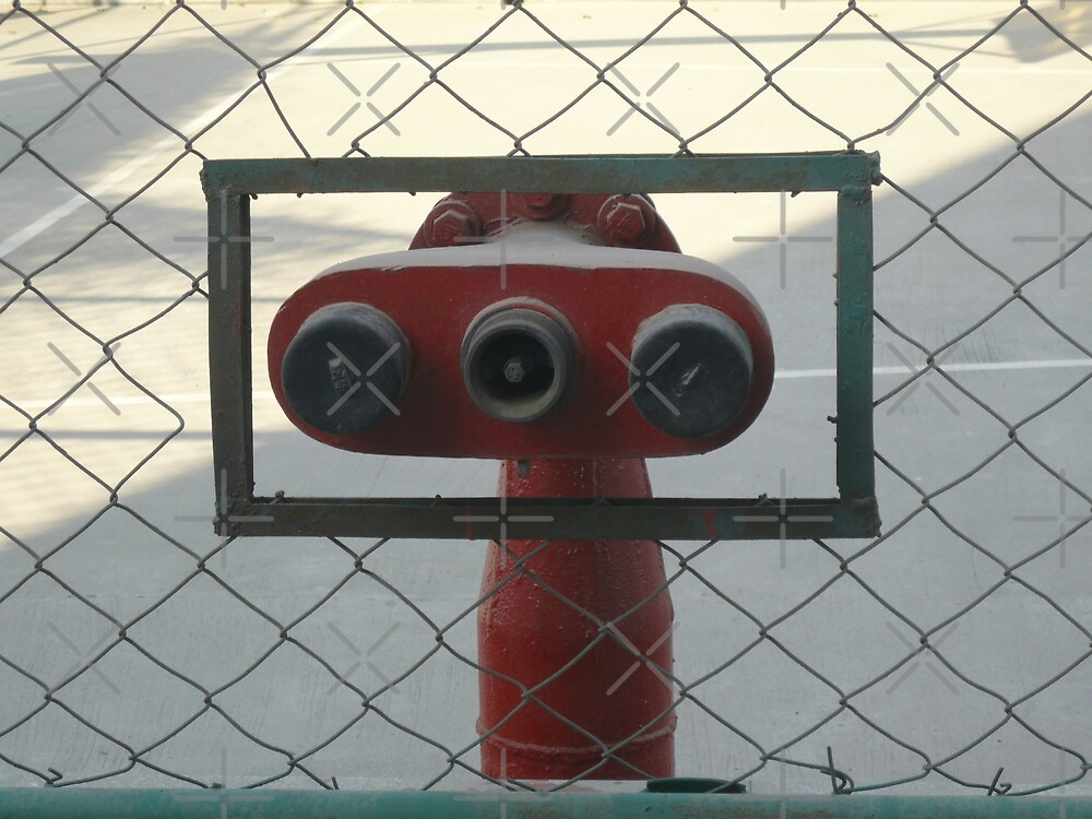 Water hydrants built into a wire mesh fence by ashishagarwal74