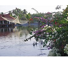 Ducks, fishing net, flowers, water and cottages make a great photo Photographic Print