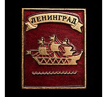 Soviet badge with the inscription Leningrad  Photographic Print