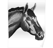 Greyscale horse Poster