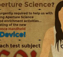 Aperture Science - Test Subjects Wanted! Sticker