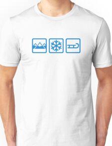 Mountains snow sleigh Unisex T-Shirt
