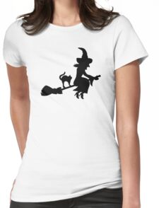 Witch broom cat Womens Fitted T-Shirt