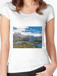 Mountains and lake Nahuel Huapi (Patagonia - Argentina) Women's Fitted Scoop T-Shirt