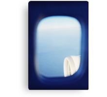 Plane wing in blue sky analogue 35mm film ra-4 darkroom photo Canvas Print