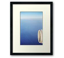 Plane wing in blue sky analogue 35mm film ra-4 darkroom prints Framed Print