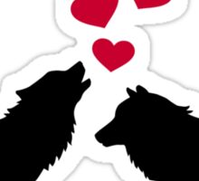Wolves red hearts love Sticker