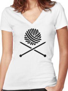 Knitting wool needles Women's Fitted V-Neck T-Shirt