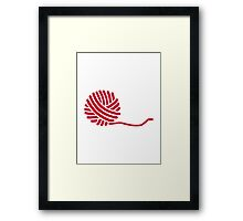 Red knitting wool Framed Print