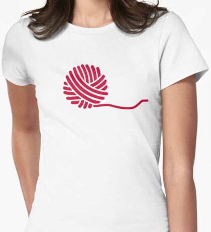 Red knitting wool Womens Fitted T-Shirt