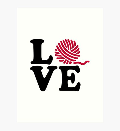 Wool knitting love Art Print