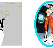 GLaDOS, Chell, & Wheatley by vyol3t