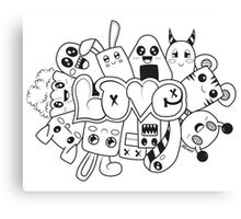 Doodle Love /Black and White Canvas Print