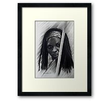 Michonne in graffiti and Charcoal Framed Print