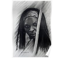 Michonne in graffiti and Charcoal Poster